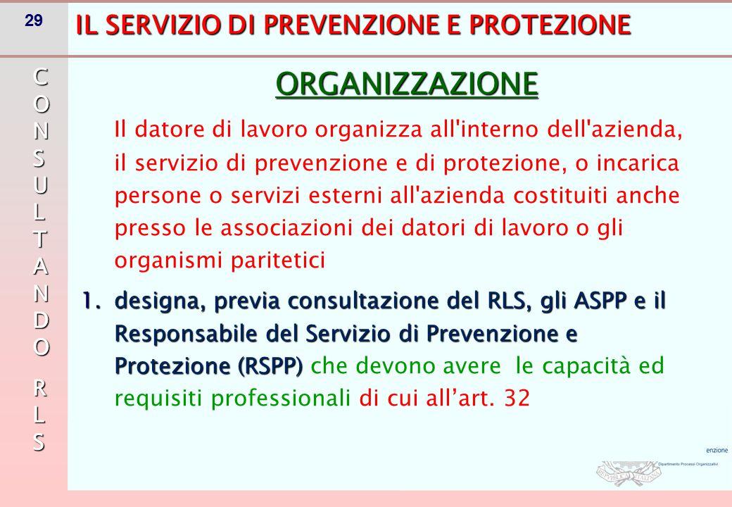 29 IL SERVIZIO DI PREVENZIONE E PROTEZIONE ORGANIZZAZIONE Il datore di lavoro organizza all'interno dell'azienda, il servizio di prevenzione e di prot