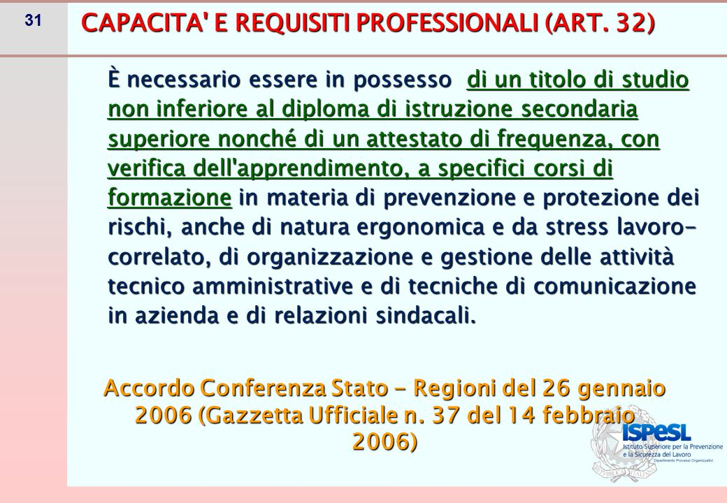 31 CAPACITA E REQUISITI PROFESSIONALI (ART.