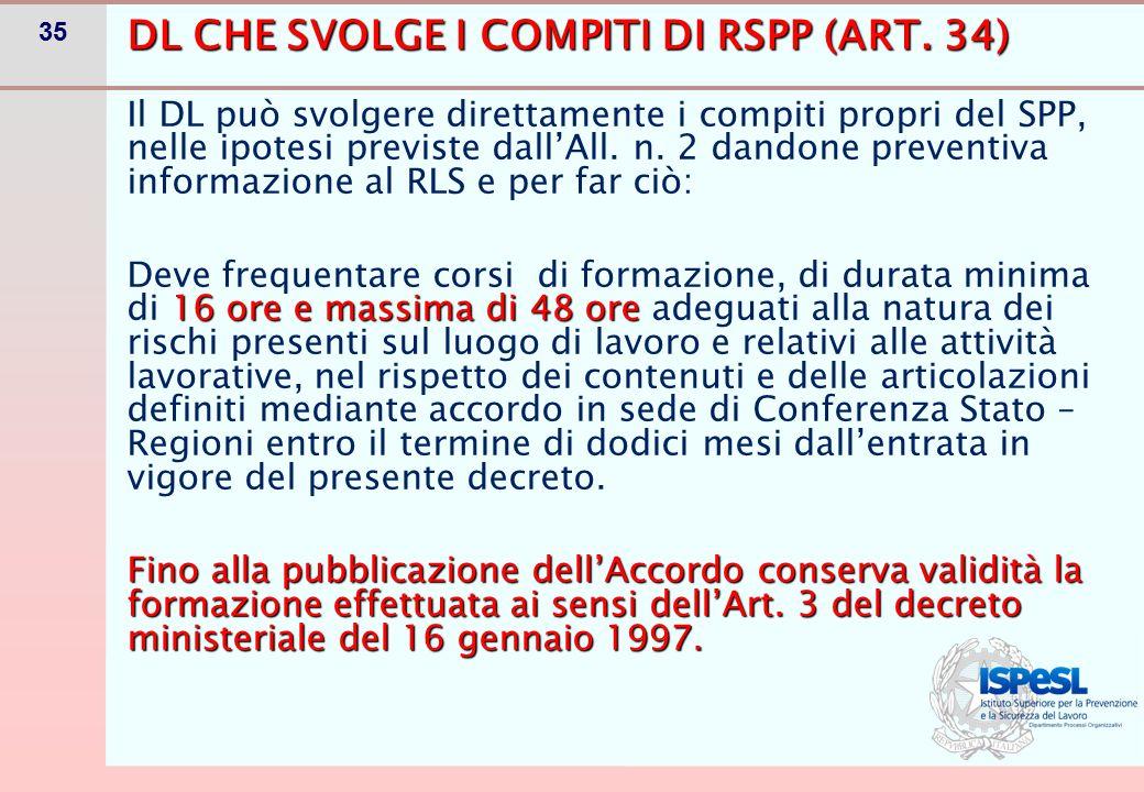 35 DL CHE SVOLGE I COMPITI DI RSPP (ART. 34) Il DL può svolgere direttamente i compiti propri del SPP, nelle ipotesi previste dall'All. n. 2 dandone p
