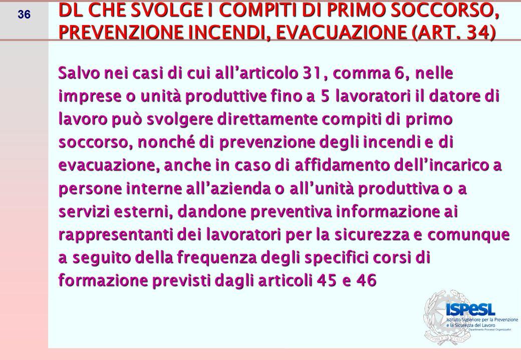 36 Salvo nei casi di cui all'articolo 31, comma 6, nelle imprese o unità produttive fino a 5 lavoratori il datore di lavoro può svolgere direttamente