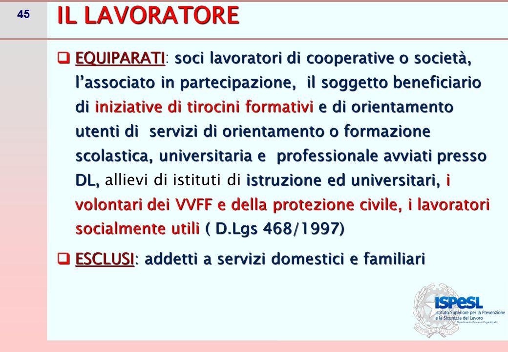 45 IL LAVORATORE  EQUIPARATIsoci lavoratori di cooperative o società, l'associato in partecipazione, il soggetto beneficiario di iniziative di tiroci