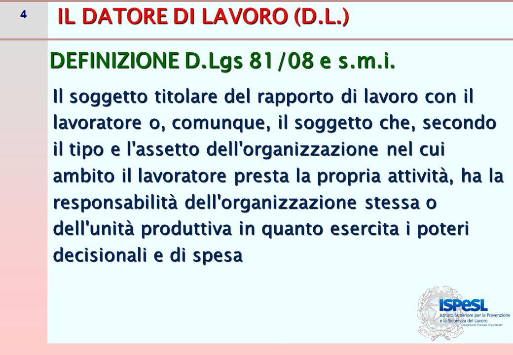 5D.L.: Soggetto responsabile organizzazione con poteri decisionali e di spesa P.A.