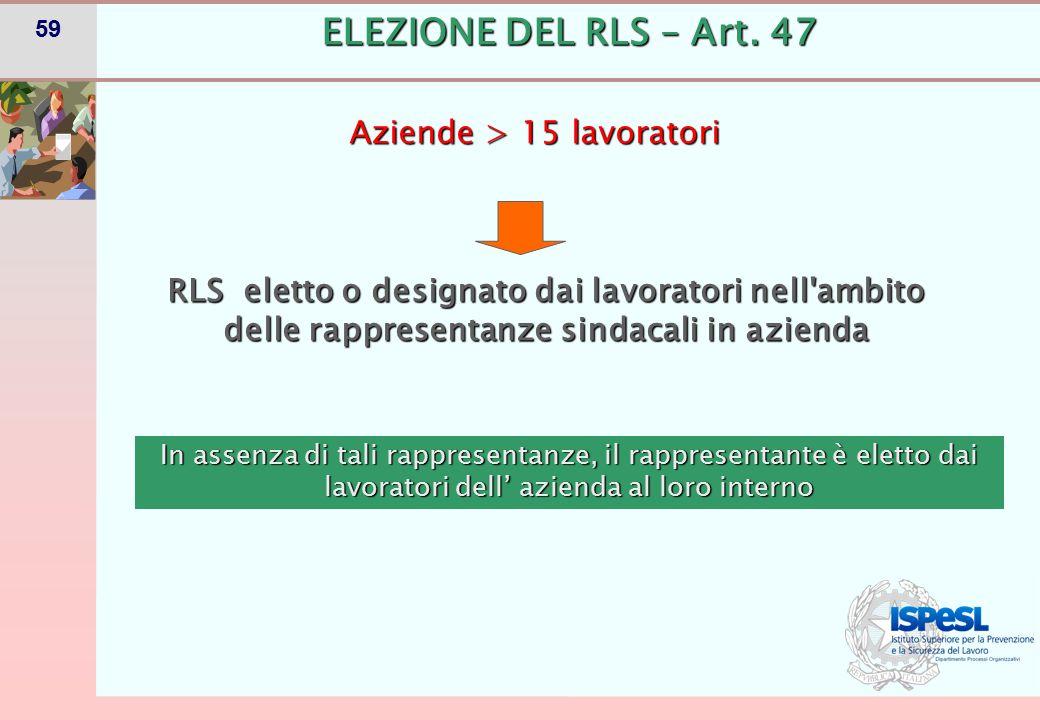 59 ELEZIONE DEL RLS – Art. 47 Aziende > 15 lavoratori RLS eletto o designato dai lavoratori nell'ambito delle rappresentanze sindacali in azienda In a