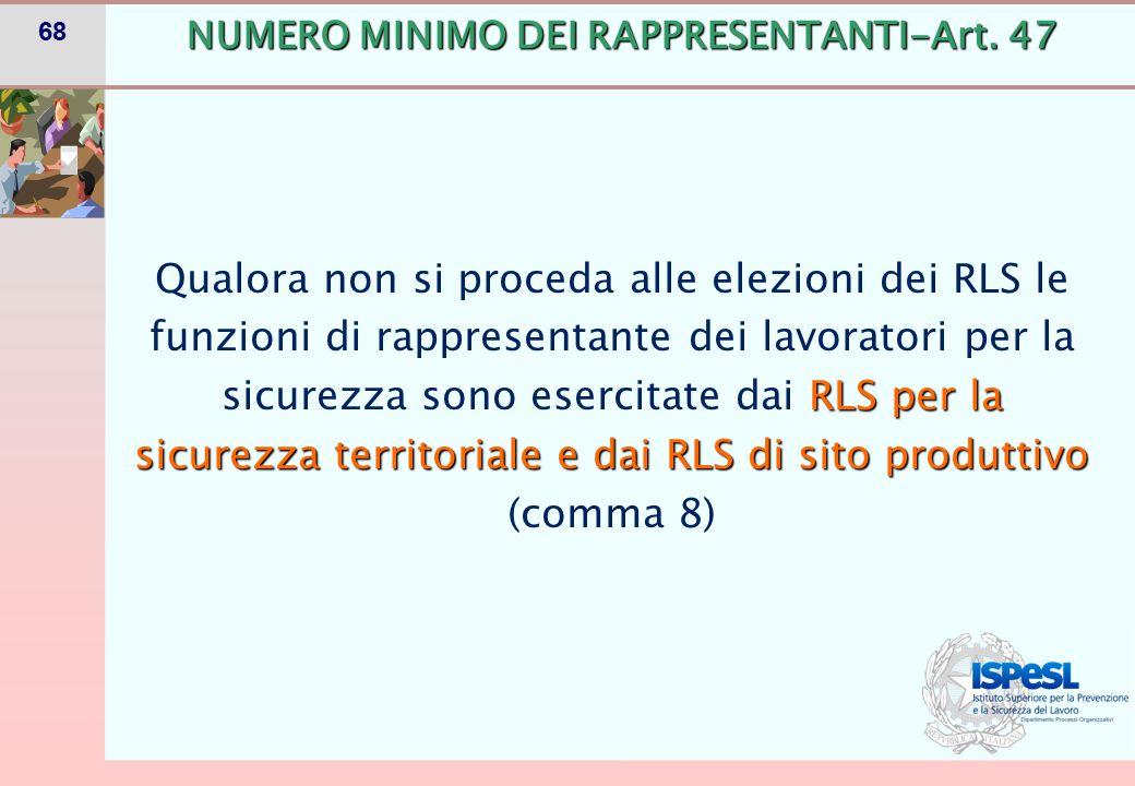 68 RLS per la sicurezza territoriale e dai RLS di sito produttivo Qualora non si proceda alle elezioni dei RLS le funzioni di rappresentante dei lavor