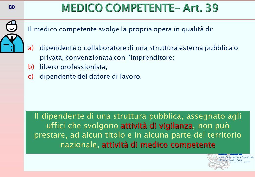 80 MEDICO COMPETENTE- Art. 39 Il medico competente svolge la propria opera in qualità di: a)dipendente o collaboratore di una struttura esterna pubbli