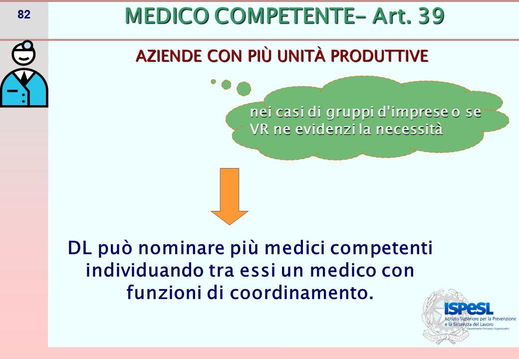 82 AZIENDE CON PIÙ UNITÀ PRODUTTIVE MEDICO COMPETENTE- Art. 39 DL può nominare più medici competenti individuando tra essi un medico con funzioni di c