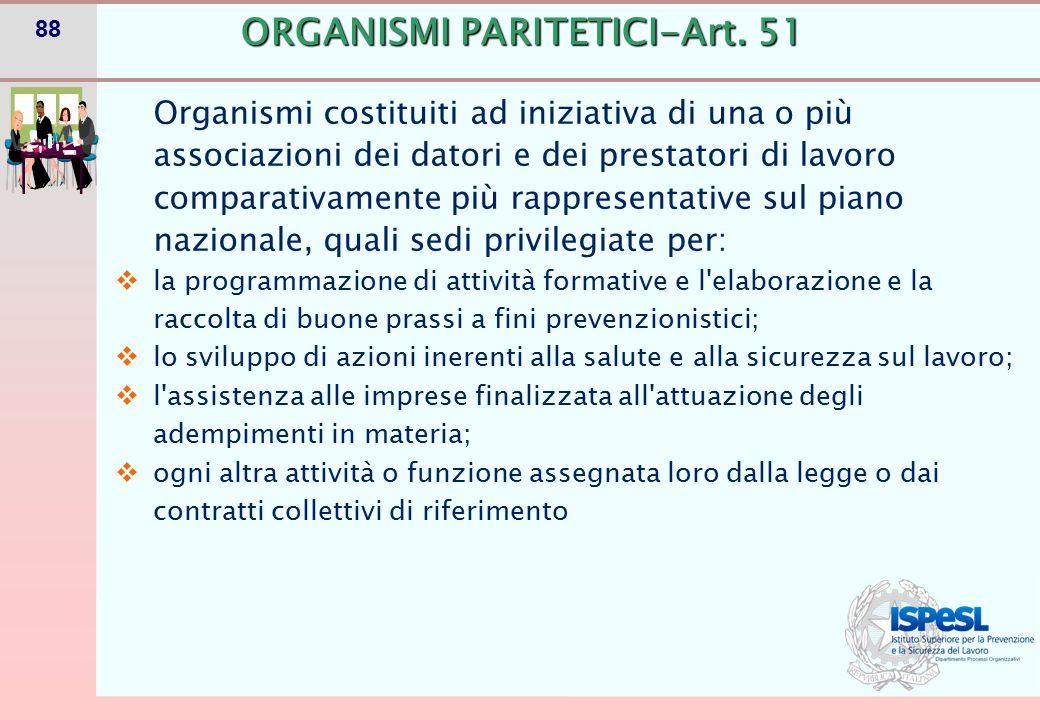 88 Organismi costituiti ad iniziativa di una o più associazioni dei datori e dei prestatori di lavoro comparativamente più rappresentative sul piano n