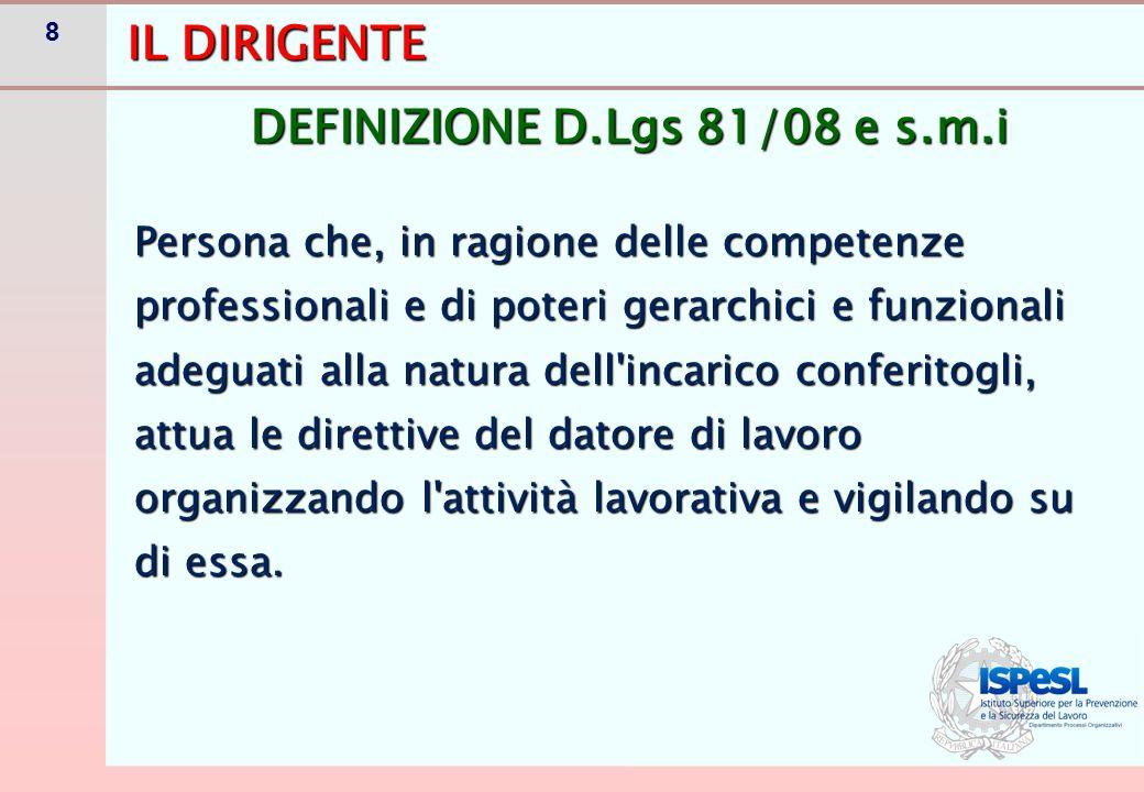 8 IL DIRIGENTE Persona che, in ragione delle competenze professionali e di poteri gerarchici e funzionali adeguati alla natura dell'incarico conferito