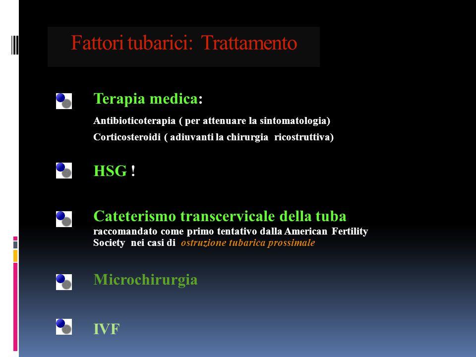 Fattori tubarici: Trattamento Terapia medica: Antibioticoterapia ( per attenuare la sintomatologia) Corticosteroidi ( adiuvanti la chirurgia ricostrut