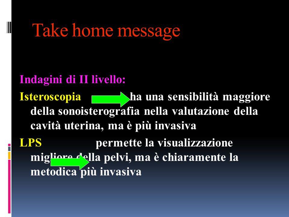 Take home message Indagini di II livello: Isteroscopia ha una sensibilità maggiore della sonoisterografia nella valutazione della cavità uterina, ma è