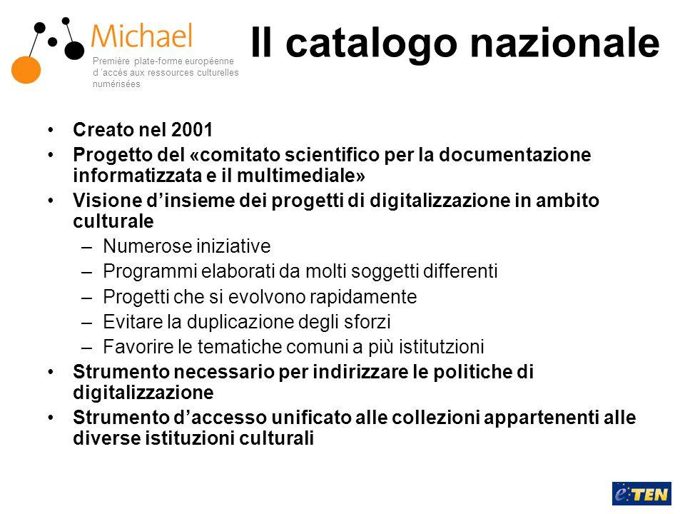 Il catalogo nazionale Creato nel 2001 Progetto del «comitato scientifico per la documentazione informatizzata e il multimediale» Visione d'insieme dei