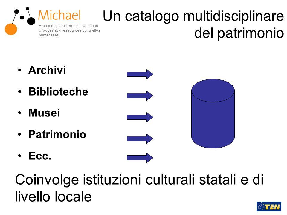 Archivi Biblioteche Musei Patrimonio Ecc. Coinvolge istituzioni culturali statali e di livello locale Première plate-forme européenne d 'accès aux res