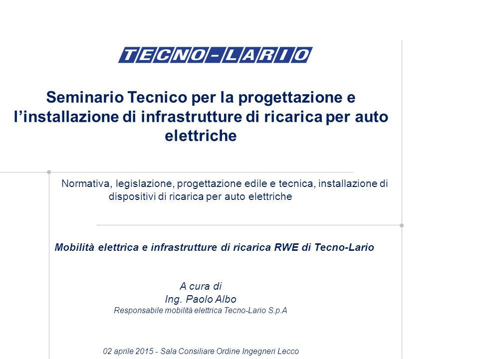 Seminario Tecnico per la progettazione e l'installazione di infrastrutture di ricarica per auto elettriche Normativa, legislazione, progettazione edil