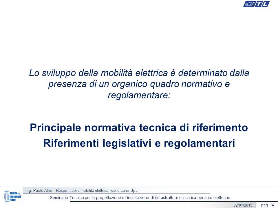 Ing. Paolo Albo – Responsabile mobilità elettrica Tecno-Lario Spa pag. 14 Seminario Tecnico per la progettazione e l'installazione di infrastrutture d