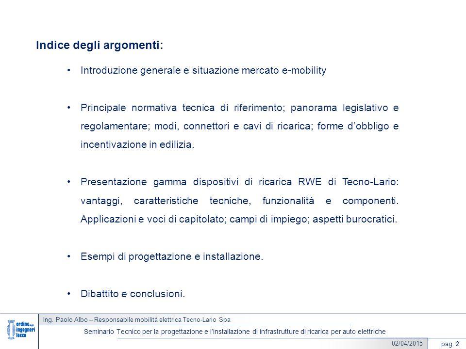 02/04/2015 Indice degli argomenti: Introduzione generale e situazione mercato e-mobility Principale normativa tecnica di riferimento; panorama legisla