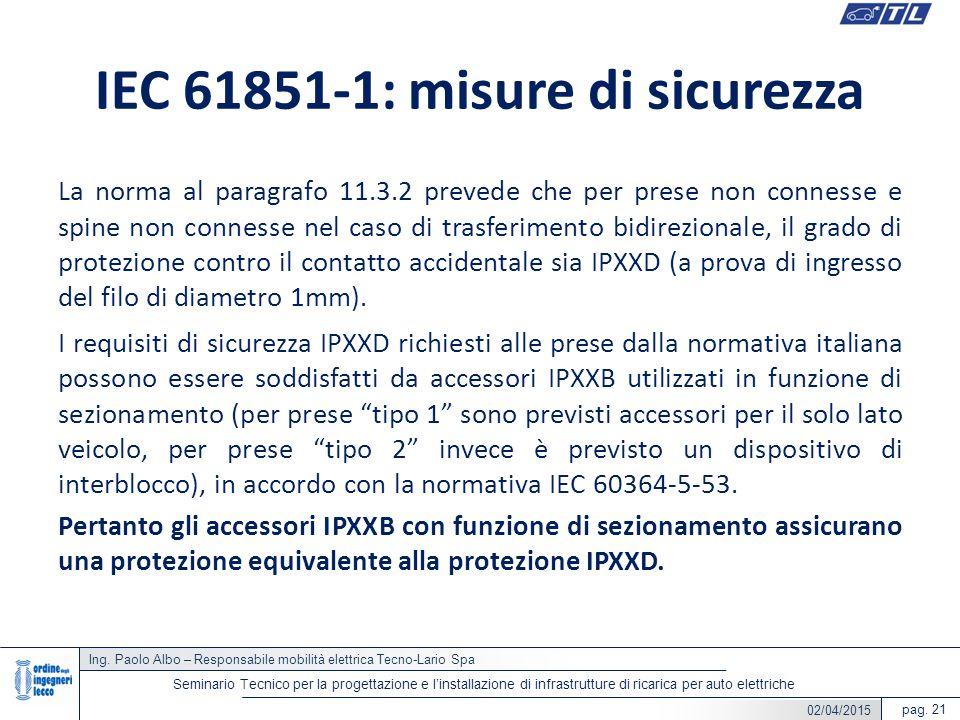 Ing. Paolo Albo – Responsabile mobilità elettrica Tecno-Lario Spa pag. 21 Seminario Tecnico per la progettazione e l'installazione di infrastrutture d