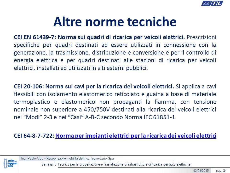 Ing. Paolo Albo – Responsabile mobilità elettrica Tecno-Lario Spa pag. 24 Seminario Tecnico per la progettazione e l'installazione di infrastrutture d