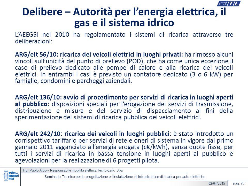 Ing. Paolo Albo – Responsabile mobilità elettrica Tecno-Lario Spa pag. 25 Seminario Tecnico per la progettazione e l'installazione di infrastrutture d