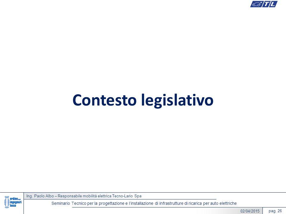 Ing. Paolo Albo – Responsabile mobilità elettrica Tecno-Lario Spa pag. 26 Seminario Tecnico per la progettazione e l'installazione di infrastrutture d