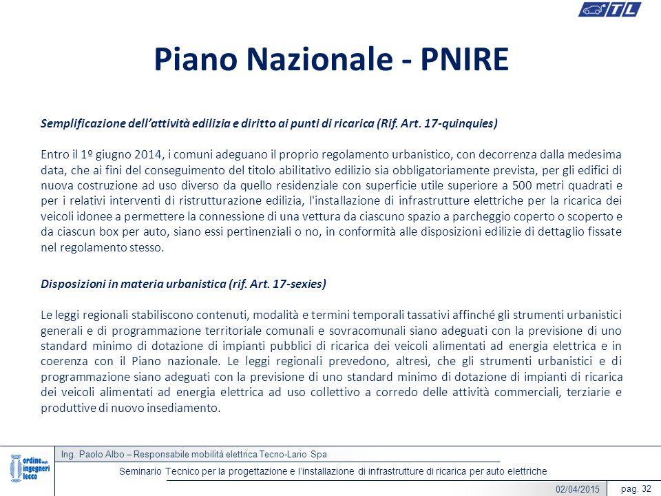 Ing. Paolo Albo – Responsabile mobilità elettrica Tecno-Lario Spa pag. 32 Seminario Tecnico per la progettazione e l'installazione di infrastrutture d