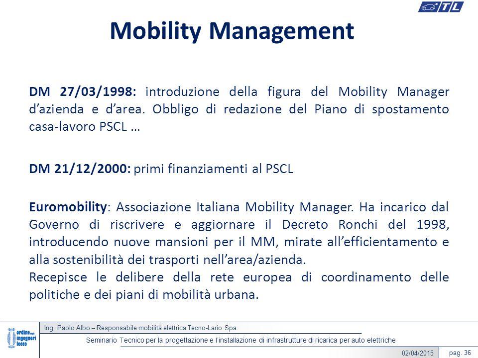 22/05/2014 Ing. Paolo Albo – Responsabile mobilità elettrica Tecno-Lario Spa pag. 36 Seminario Tecnico per la progettazione e l'installazione di infra