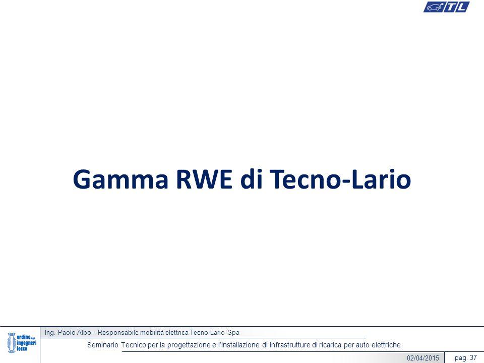 Ing. Paolo Albo – Responsabile mobilità elettrica Tecno-Lario Spa pag. 37 Seminario Tecnico per la progettazione e l'installazione di infrastrutture d