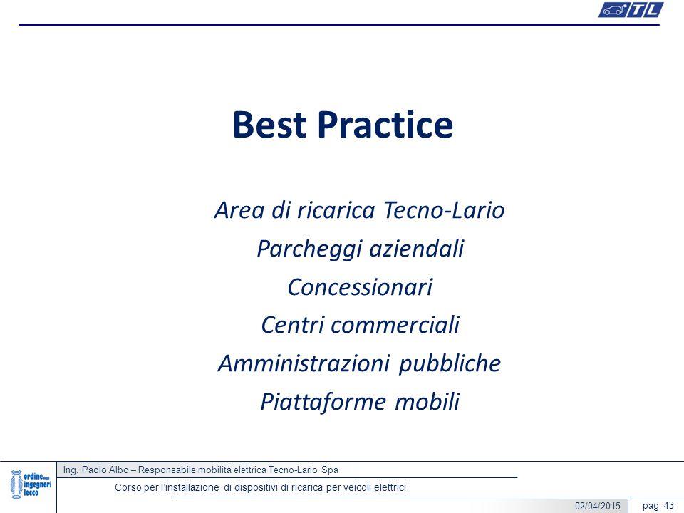 Ing. Paolo Albo – Responsabile mobilità elettrica Tecno-Lario Spa pag. 43 Corso per l'installazione di dispositivi di ricarica per veicoli elettrici B