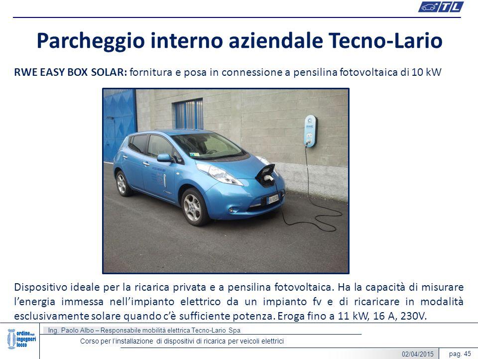 pag. 45 Parcheggio interno aziendale Tecno-Lario Corso per l'installazione di dispositivi di ricarica per veicoli elettrici RWE EASY BOX SOLAR: fornit