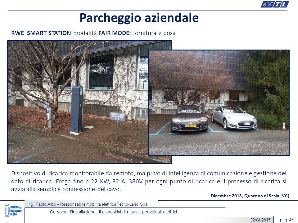pag. 46 Parcheggio aziendale Corso per l'installazione di dispositivi di ricarica per veicoli elettrici RWE SMART STATION modalità FAIR MODE: fornitur