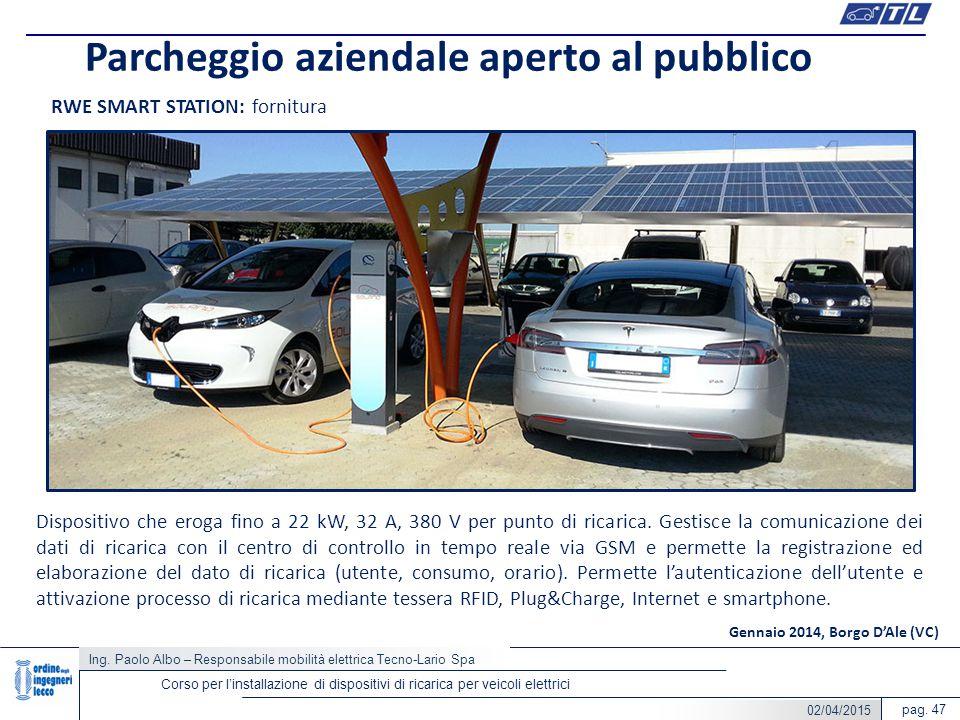 pag. 47 Parcheggio aziendale aperto al pubblico Ing. Paolo Albo – Responsabile mobilità elettrica Tecno-Lario Spa Corso per l'installazione di disposi