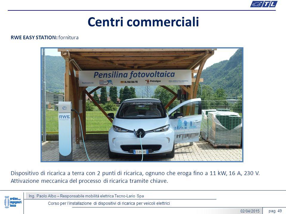pag. 49 Centri commerciali Ing. Paolo Albo – Responsabile mobilità elettrica Tecno-Lario Spa Corso per l'installazione di dispositivi di ricarica per