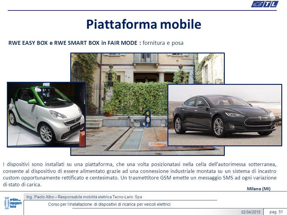 pag. 51 Piattaforma mobile Ing. Paolo Albo – Responsabile mobilità elettrica Tecno-Lario Spa Corso per l'installazione di dispositivi di ricarica per