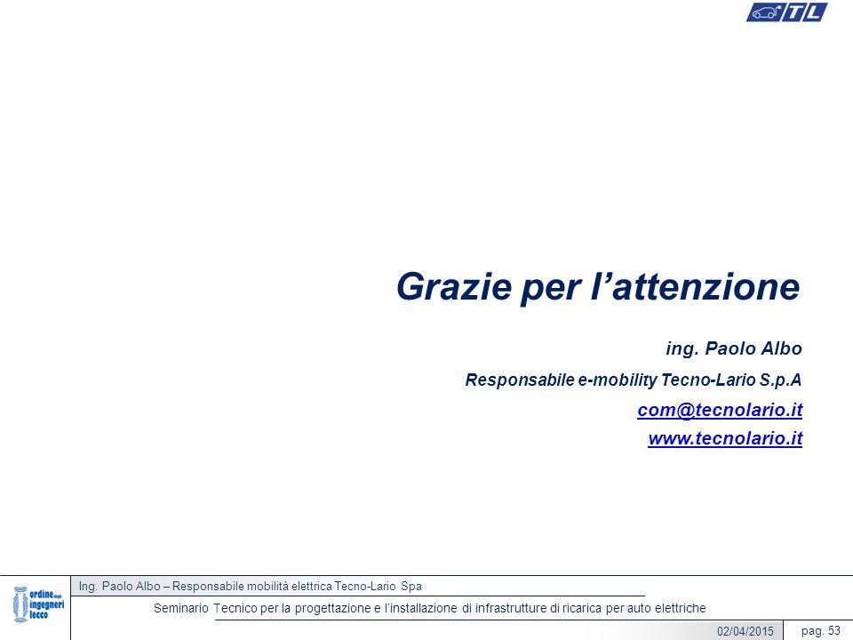 Ing. Paolo Albo – Responsabile mobilità elettrica Tecno-Lario Spa pag. 53 Seminario Tecnico per la progettazione e l'installazione di infrastrutture d