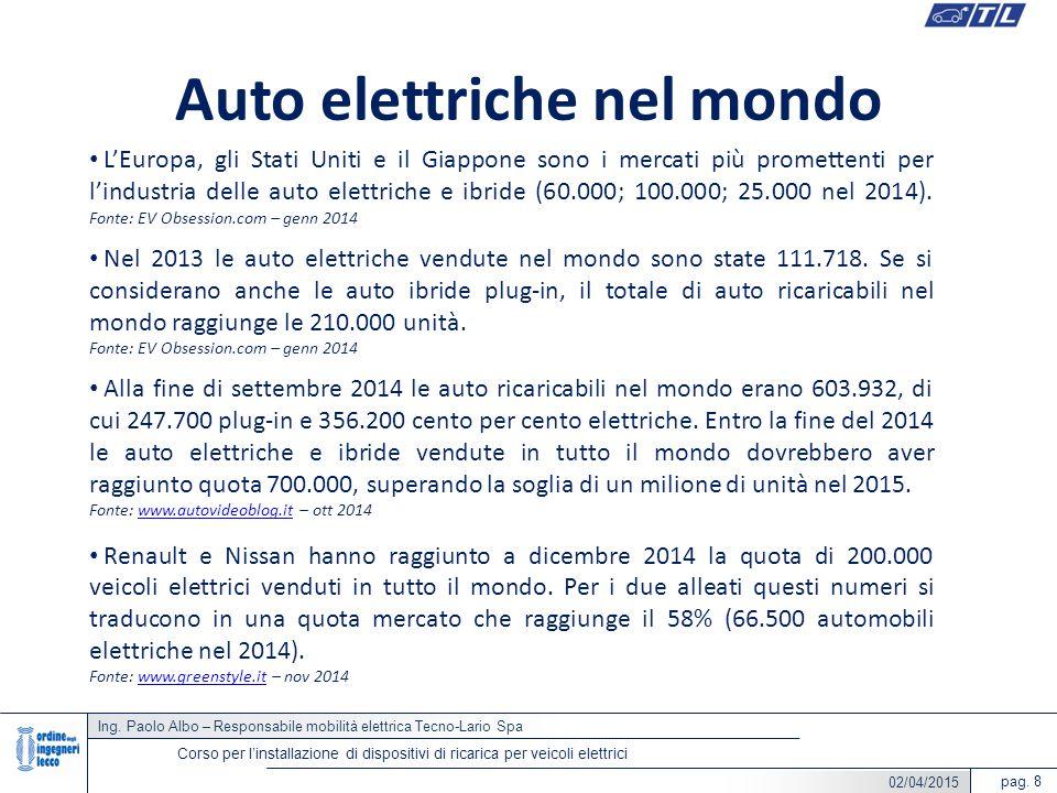 Ing. Paolo Albo – Responsabile mobilità elettrica Tecno-Lario Spa pag. 8 Corso per l'installazione di dispositivi di ricarica per veicoli elettrici Au