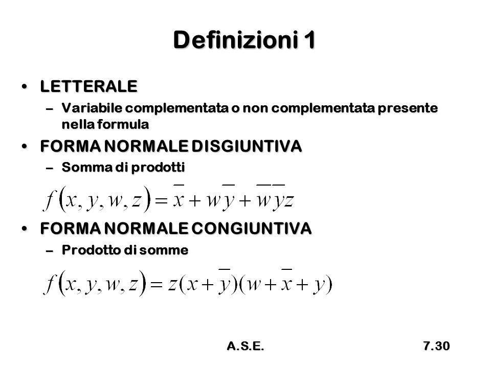Definizioni 1 LETTERALELETTERALE –Variabile complementata o non complementata presente nella formula FORMA NORMALE DISGIUNTIVAFORMA NORMALE DISGIUNTIV