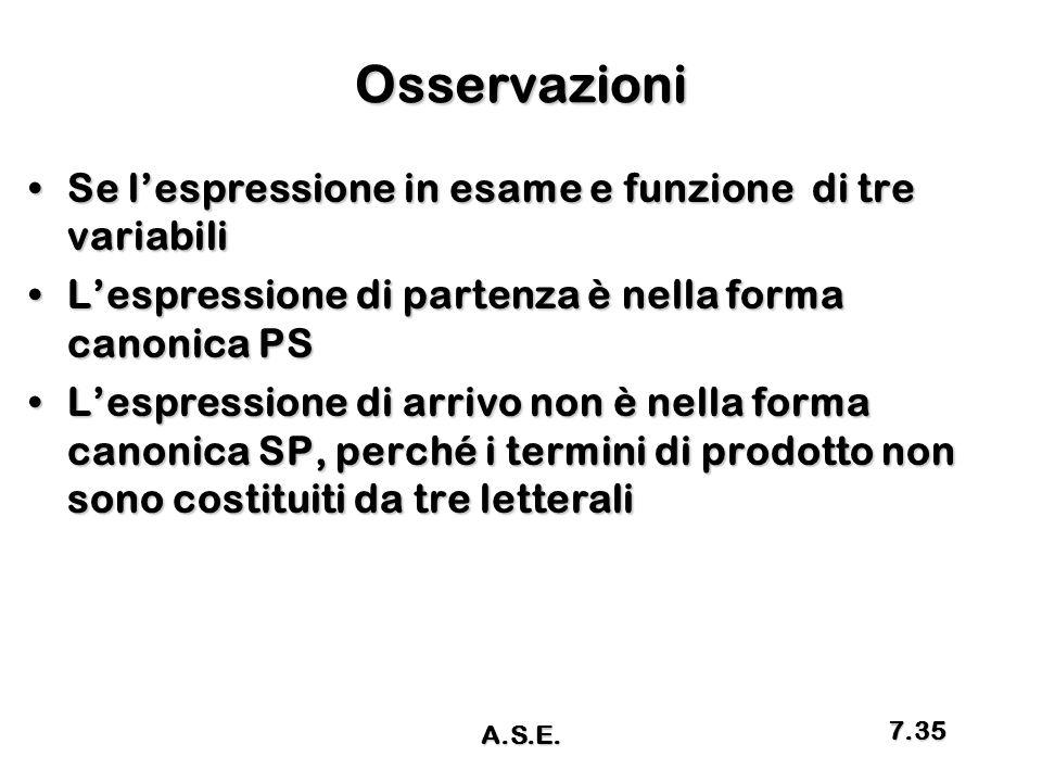 Osservazioni Se l'espressione in esame e funzione di tre variabiliSe l'espressione in esame e funzione di tre variabili L'espressione di partenza è ne