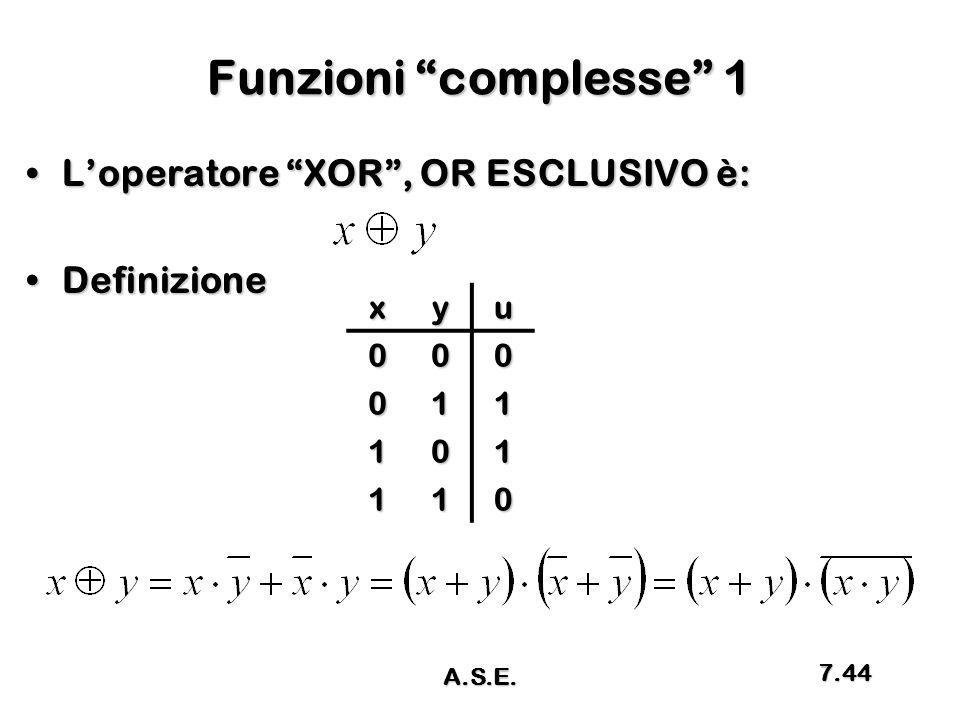 """Funzioni """"complesse"""" 1 L'operatore """"XOR"""", OR ESCLUSIVO è:L'operatore """"XOR"""", OR ESCLUSIVO è: DefinizioneDefinizionexyu000 011 101 110 A.S.E. 7.44"""