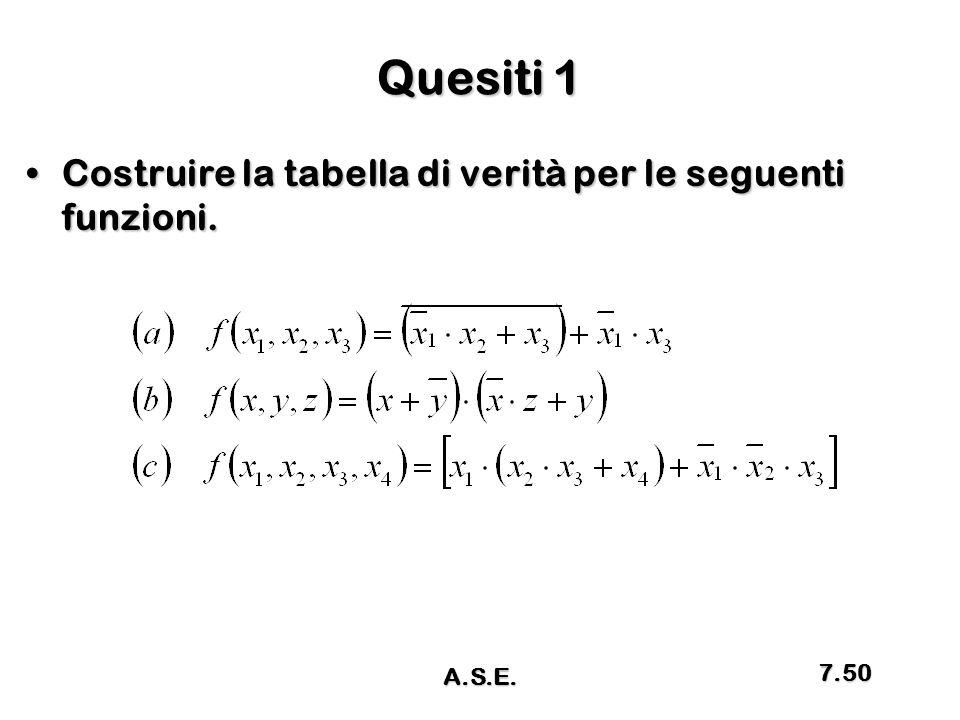 Quesiti 1 Costruire la tabella di verità per le seguenti funzioni.Costruire la tabella di verità per le seguenti funzioni. A.S.E. 7.50
