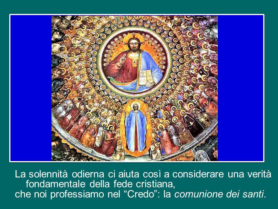 Al tempo stesso già ricordiamo i nostri cari defunti visitando i cimiteri: è motivo di grande consolazione pensare che essi sono in compagnia della Vergine Maria, degli apostoli, dei martiri e di tutti i santi e le sante del Paradiso!
