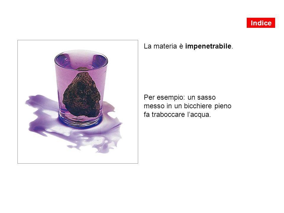 La materia è impenetrabile. Per esempio: un sasso messo in un bicchiere pieno fa traboccare l'acqua. Indice