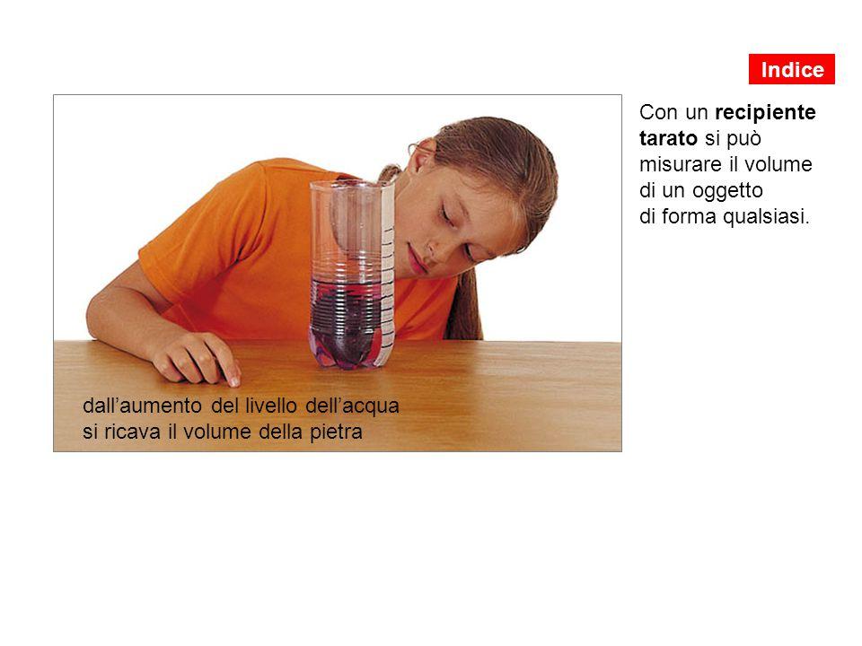 Con un recipiente tarato si può misurare il volume di un oggetto di forma qualsiasi. dall'aumento del livello dell'acqua si ricava il volume della pie