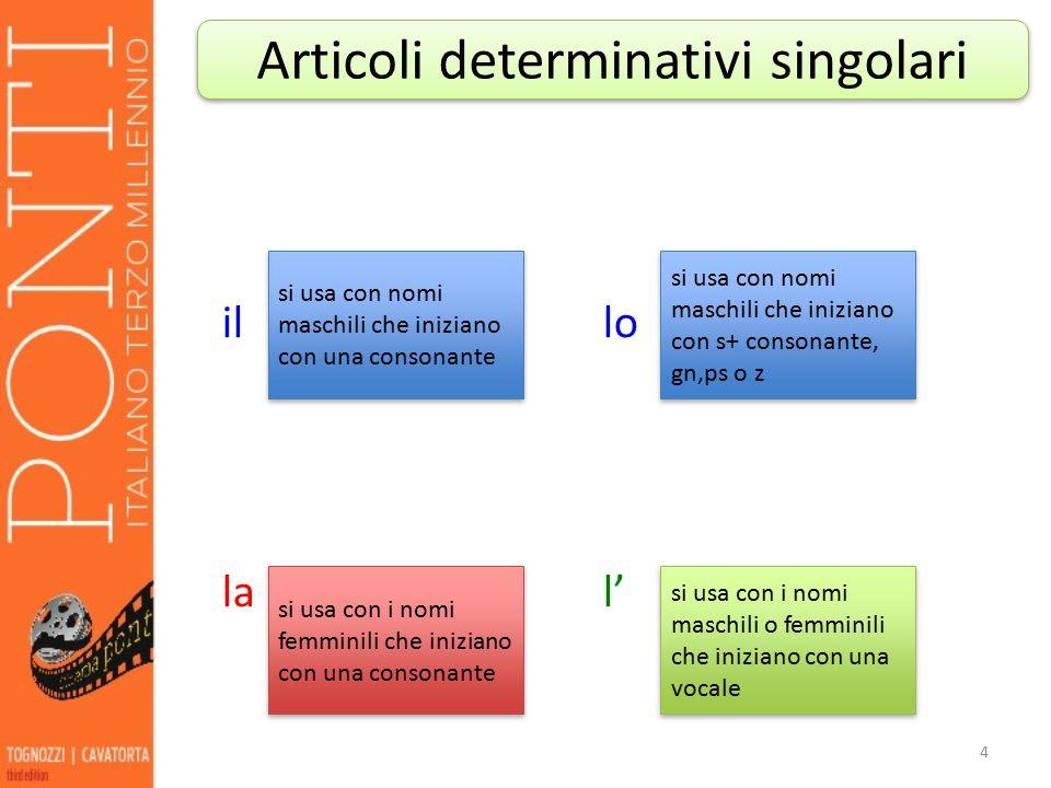 illo lal' 4 Articoli determinativi singolari si usa con nomi maschili che iniziano con una consonante si usa con nomi maschili che iniziano con s+ con