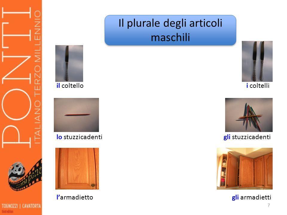 8 la forchetta le forchette l'affettatrice le affettatrici Il plurale degli articoli femminili Il plurale degli articoli femminili