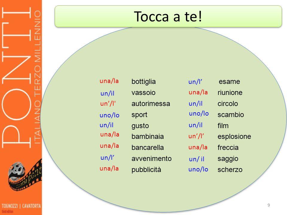 10 1.____nostalgia 2.___scenografo 3.____arancia 4.____campagna 5.____influsso 6.____anno 7.____strategia 8.____americanizzazione 9.____doppiaggio 10.____interprete 11.____scambio 12.____stereotipo 13.____civiltà 14.____ingresso 15.____assenza lala lolo l'l' la l'l' l'l' l'l' il l'/ l'l' lo la l'l' l'l' ARTICOLO PLURALE le nostalgie gli scenografi le arance le campagne gli influssi gli anni le strategie le americanizzazioni i doppiaggi gli interpreti / le interpreti gli scambi gli stereotipi le civiltà gli ingressi le assenze Tocca a te!