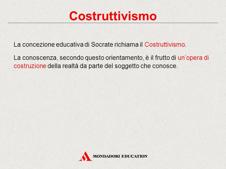 La concezione educativa di Socrate richiama il Costruttivismo. La conoscenza, secondo questo orientamento, è il frutto di un'opera di costruzione dell