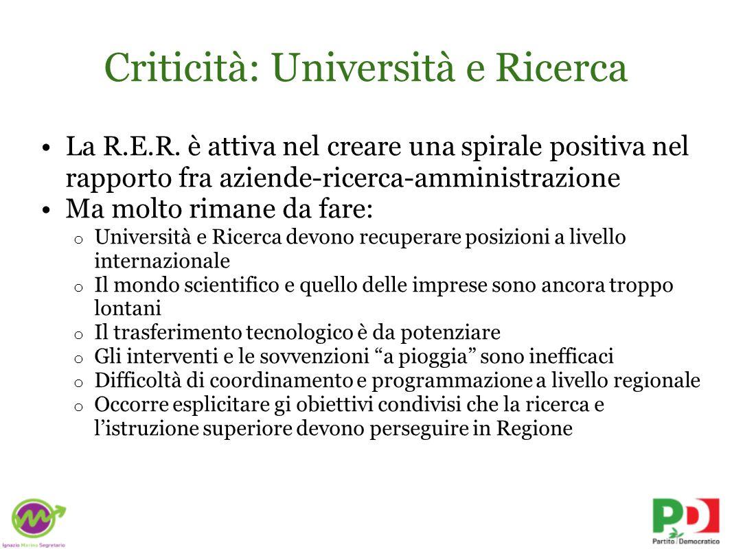 Criticità: Università e Ricerca La R.E.R.