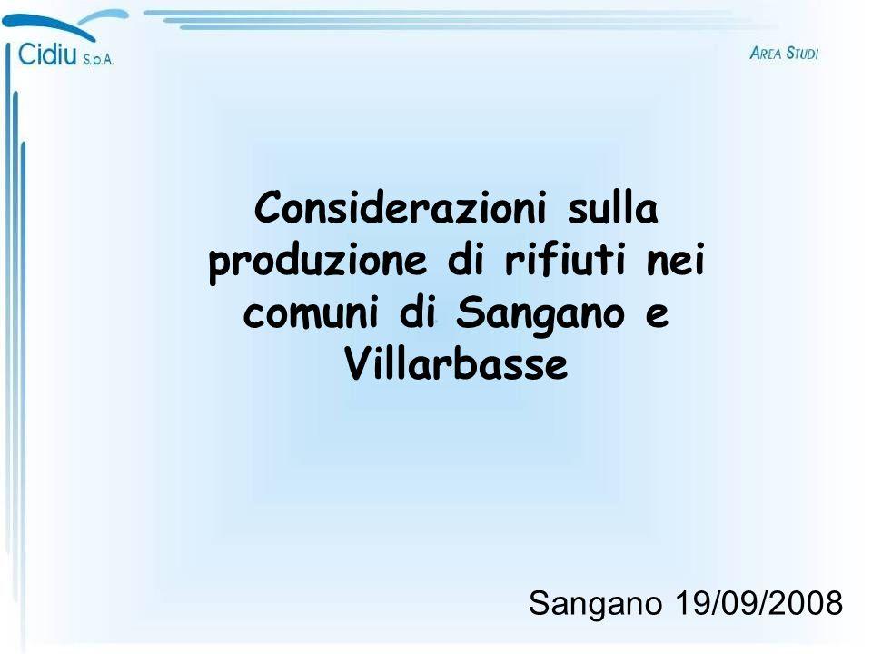 Sangano 19/09/2008 Considerazioni sulla produzione di rifiuti nei comuni di Sangano e Villarbasse