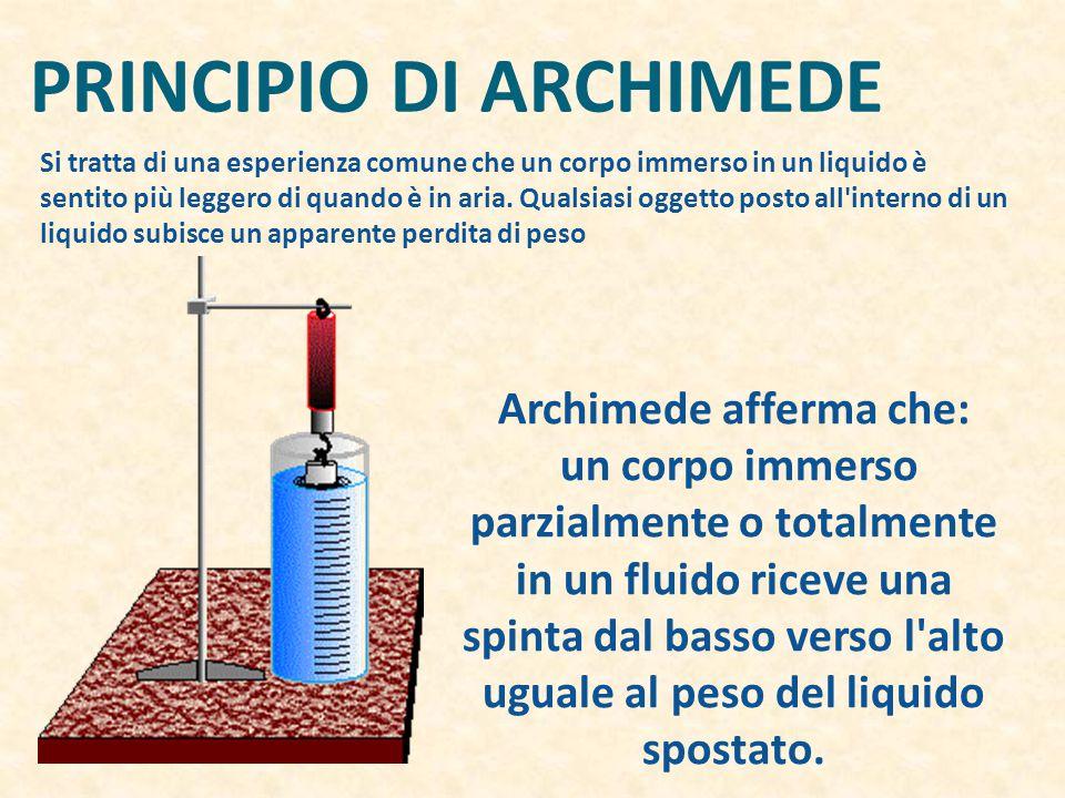 PRINCIPIO DI ARCHIMEDE Archimede afferma che: un corpo immerso parzialmente o totalmente in un fluido riceve una spinta dal basso verso l alto uguale al peso del liquido spostato.