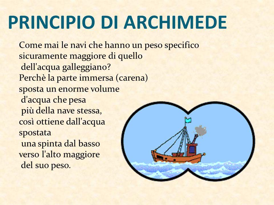 PRINCIPIO DI ARCHIMEDE Come mai le navi che hanno un peso specifico sicuramente maggiore di quello dell acqua galleggiano.