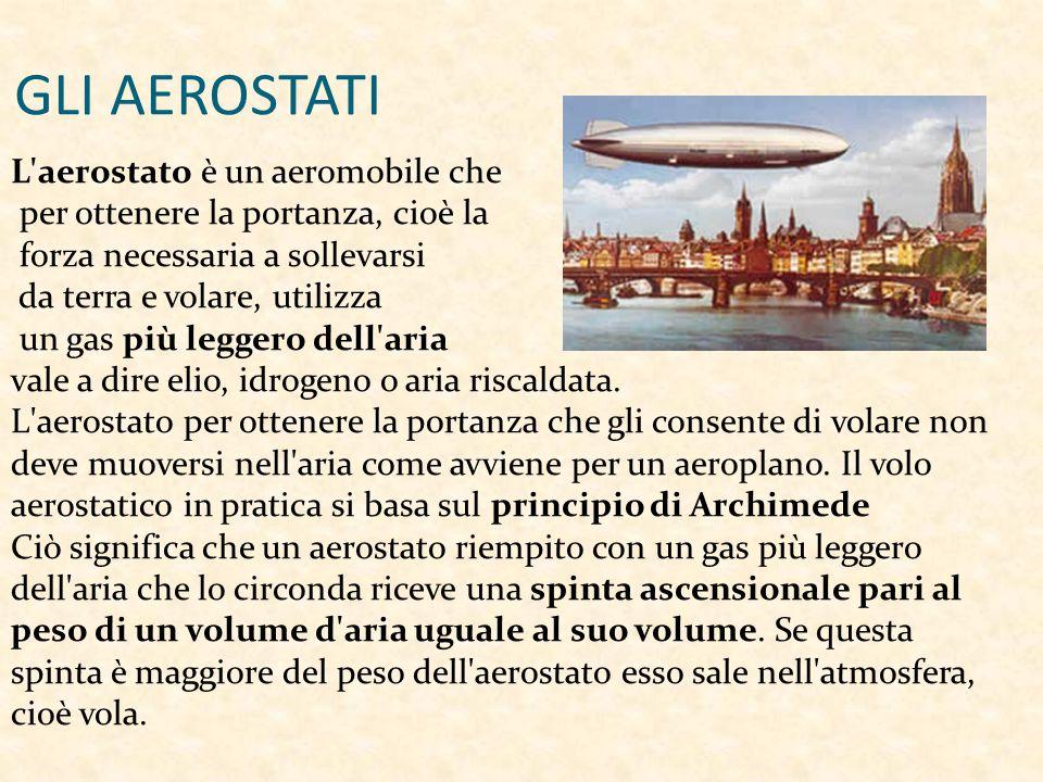 GLI AEROSTATI L aerostato è un aeromobile che per ottenere la portanza, cioè la forza necessaria a sollevarsi da terra e volare, utilizza un gas più leggero dell aria vale a dire elio, idrogeno o aria riscaldata.